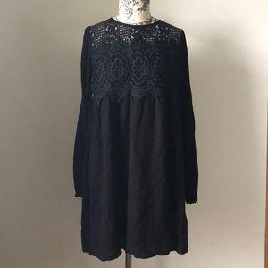 Black Lace Babydoll Boho Knee Length Dress
